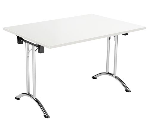 One Union Folding Table 1200 X 700 Chrome Frame White Rectangular Top