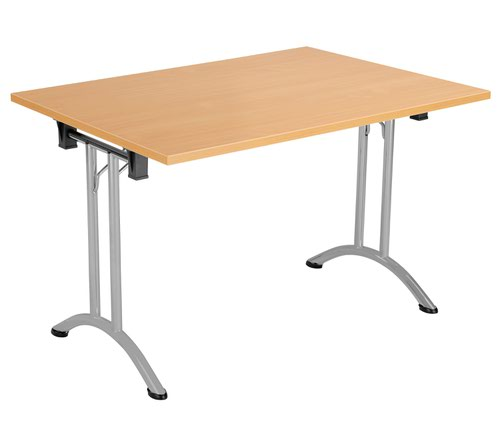 One Union Folding Table 1200 X 700 Silver Frame Beech Rectangular Top