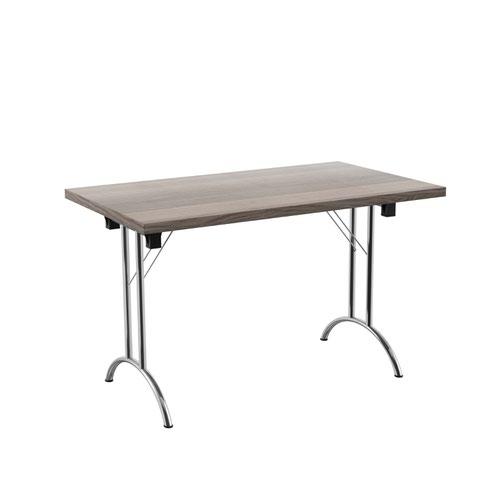 One Union Folding Table 1200 X 700 Silver Frame Grey Oak Rectangular Top