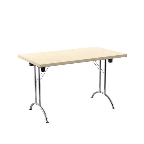 One Union Folding Table 1200 X 700 Chrome Frame Maple Rectangular Top