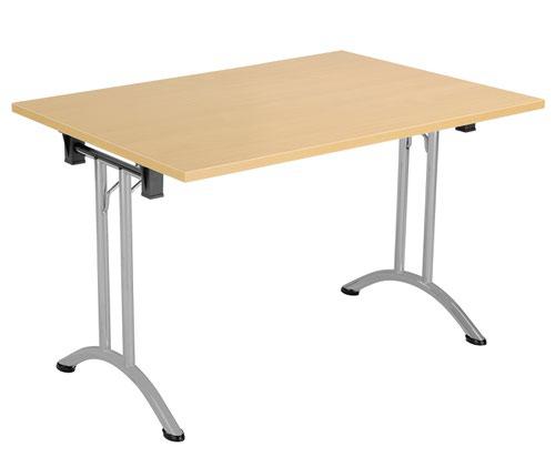 One Union Folding Table 1200 X 700 Silver Frame Nova Oak Rectangular Top