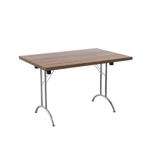 One Union Folding Table 1200 X 800 Chrome Frame Dark Walnut Rectangular Top