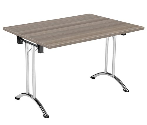 One Union Folding Table 1200 X 800 Chrome Frame Grey Oak Rectangular Top