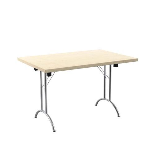 One Union Folding Table 1200 X 800 Chrome Frame Maple Rectangular Top