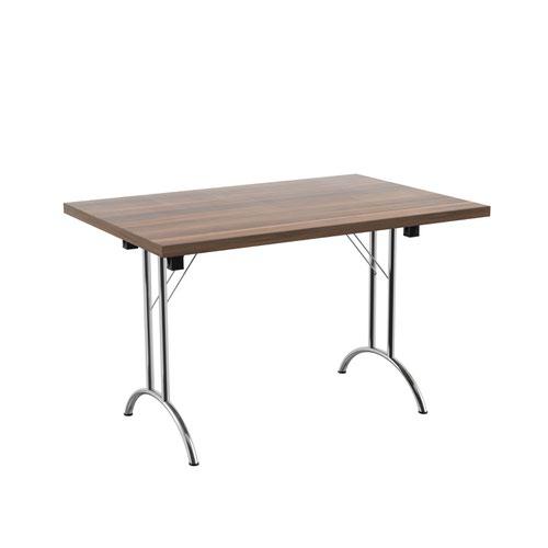 One Union Folding Table 1200 X 800 Silver Frame Dark Walnut Rectangular Top