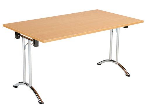 One Union Folding Table 1400 X 700 Chrome Frame Beech Rectangular Top