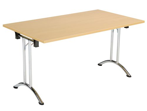 One Union Folding Table 1400 X 700 Chrome Frame Nova Oak Rectangular Top