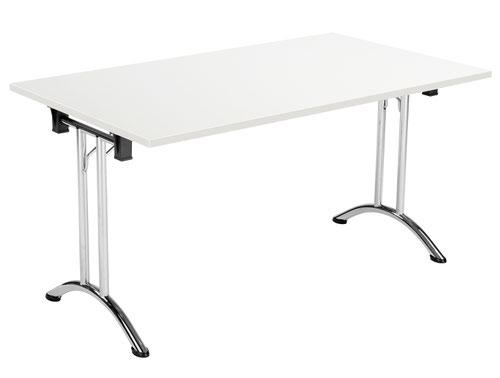 One Union Folding Table 1400 X 700 Chrome Frame White Rectangular Top