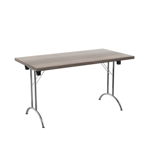 One Union Folding Table 1400 X 700 Silver Frame Grey Oak Rectangular Top