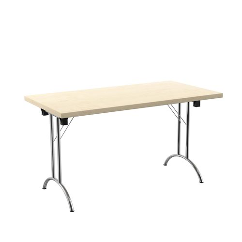 One Union Folding Table 1400 X 700 Silver Frame Maple Rectangular Top