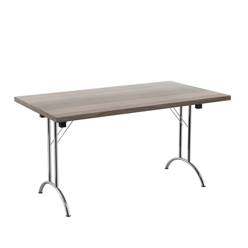 One Union Folding Table 1400 X 800 Silver Frame Grey Oak Rectangular Top