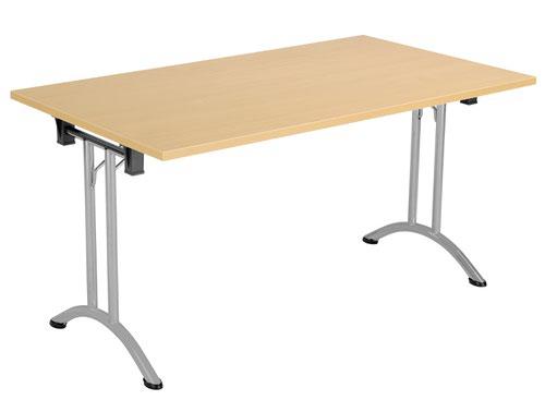 One Union Folding Table 1400 X 800 Silver Frame Nova Oak Rectangular Top