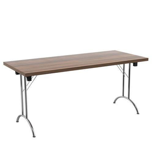 One Union Folding Table 1600 X 700 Silver Frame Dark Walnut Rectangular Top
