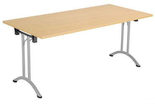 One Union Folding Table 1600 X 700 Silver Frame Nova Oak Rectangular Top