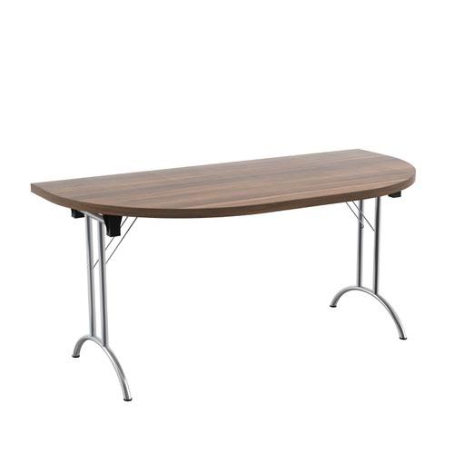 One Union Folding Table 1600 X 800 Chrome Frame Dark Walnut D-End Top