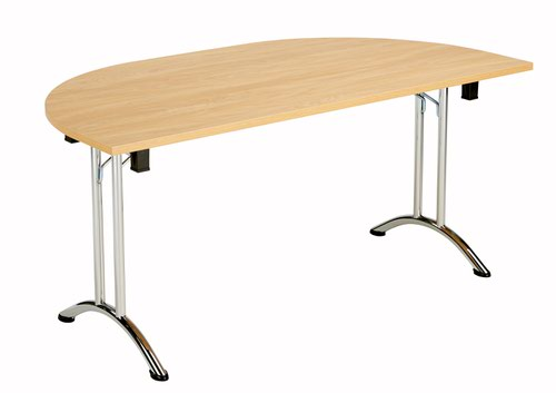 One Union Folding Table 1600 X 800 Chrome Frame Nova Oak Dend Top