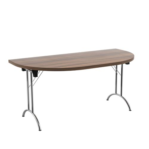 One Union Folding Table 1600 X 800 Silver Frame Dark Walnut D-End Top