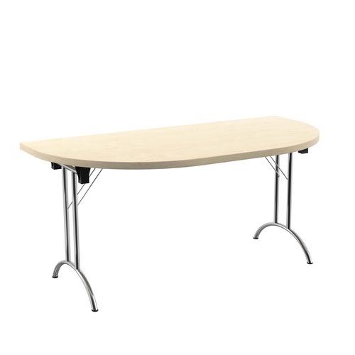 One Union Folding Table 1600 X 800 Silver Frame Maple D-End Top