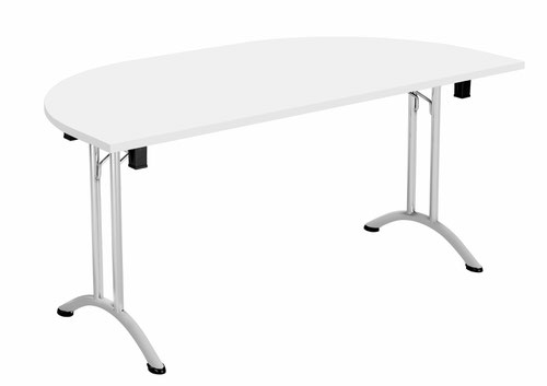 One Union Folding Table 1600 X 800 Silver Frame White D-End Top