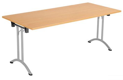One Union Folding Table 1600 X 800 Silver Frame Beech Rectangular Top