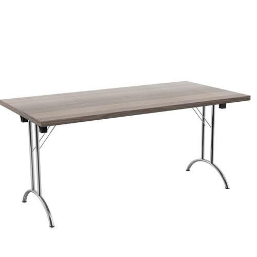 One Union Folding Table 1600 X 800 Silver Frame Grey Oak Rectangular Top