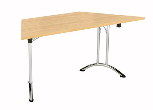 One Union Folding Table 1600 X 800 Chrome Frame Nova Oak Trapezoidal Top