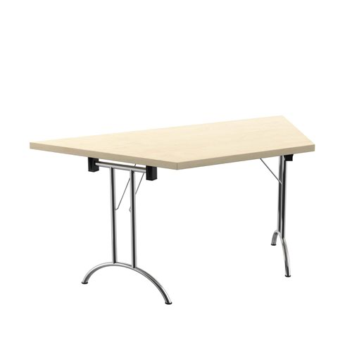 One Union Folding Table 1600 X 800 Silver Frame Maple Trapezoidal Top
