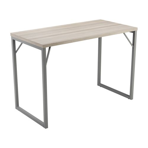Picnic High Table 1600 - Grey Oak Top and Silver Legs