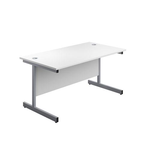 Image for 1200X600 Single Upright Rectangular Desk White-Silver