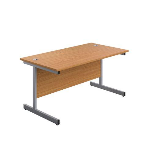 Image for 1200X800 Single Upright Rectangular Desk Nova Oak-Silver