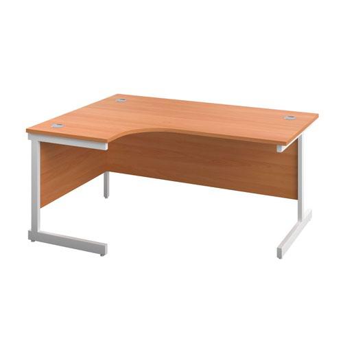 1600X1200 Single Upright Left Hand Radial Desk Beech-White