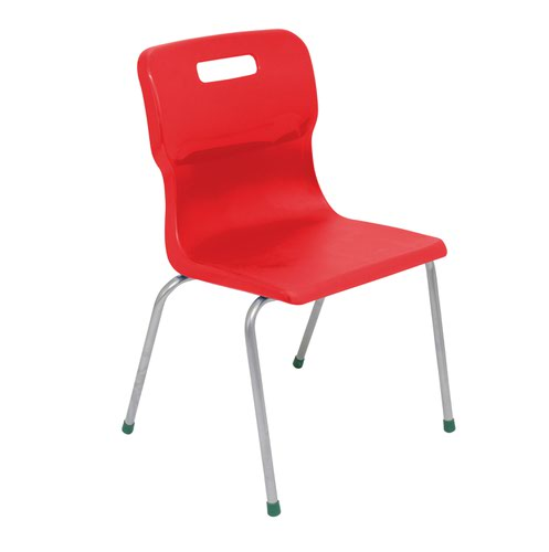 Titan 4 Leg Chair 430mm Red (Conforms to BS EN1729 Parts 1 and 2) KF72189