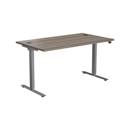 E Desk KD 1400 X 800 Grey Oak-Silver