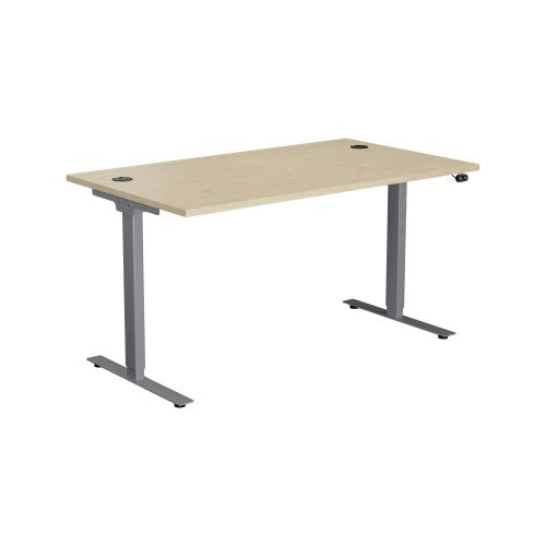 E Desk KD 1400 X 800 Maple-Silver