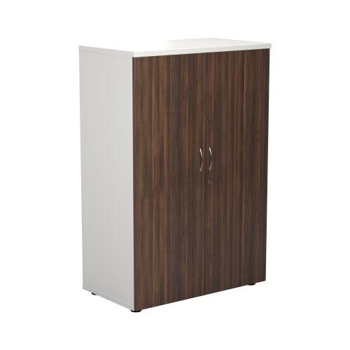 1200 Wooden Cupboard (450mm Deep) White Carcass Dark Walnut Doors