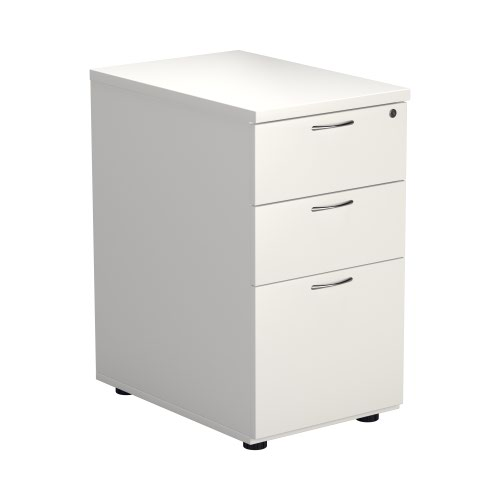 Desk High 3 Drawer Pedestal - 600 Deep - White