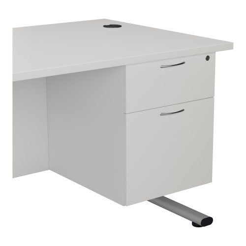 2 Drawer Fixed Pedestal - White
