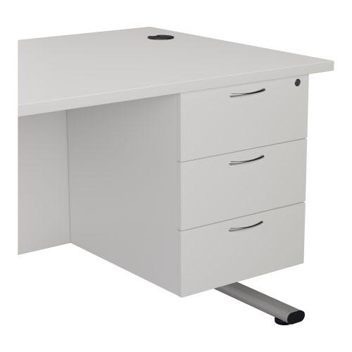 3 Drawer Fixed Pedestal - White