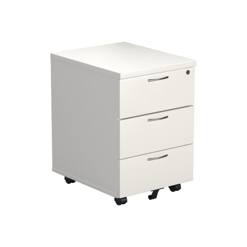 3 Drawer Mobile Pedestal - White