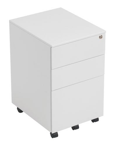 3 Drawer Under Desk Steel Pedestal - White