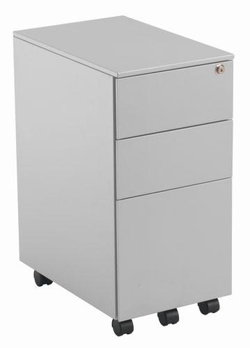 Slimline 3 Drawer Under Desk Steel Pedestal - Silver