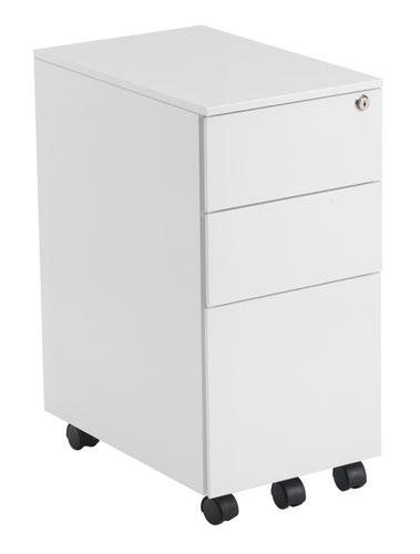 Slimline 3 Drawer Under Desk Steel Pedestal - White