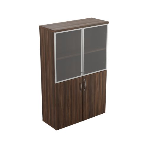 Regent 1600mm Glass Cupboard - Dark Walnut