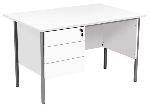 Eco 18 1200X750 4 Leg Rectangular Desk 3D Ped White-Black