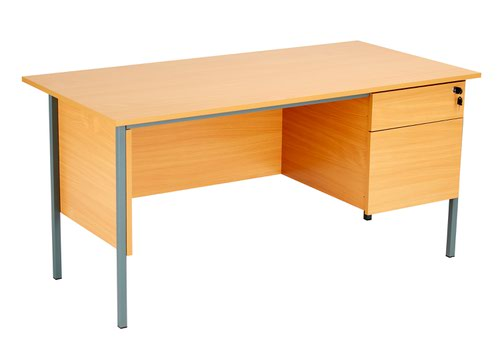 Eco 18 1500X750 4 Leg Rectangular Desk 2D Ped Beech-Black