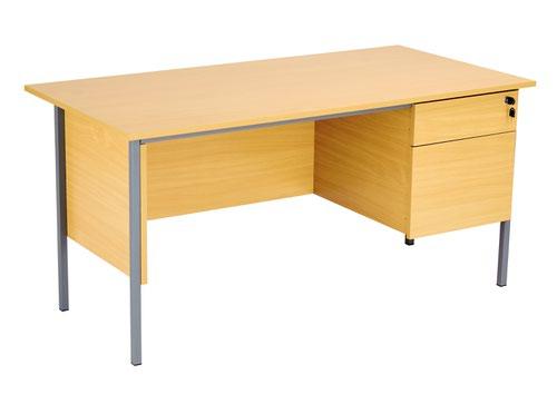 Eco 18 1500X750 4 Leg Rectangular Desk 2D Ped Oak-Black