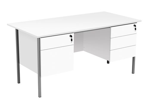 Eco 18 1500X750 4 Leg 2+3D Ped Rectangular Desk White-Black