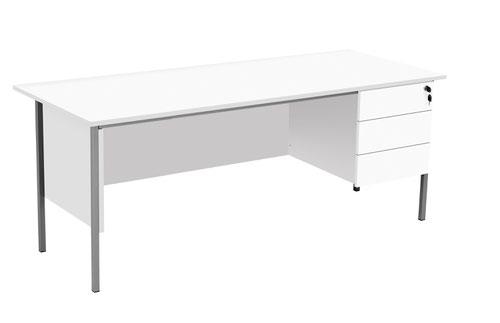 Eco 18 1800X750 4 Leg Rectangular Desk 3D Ped White-Black