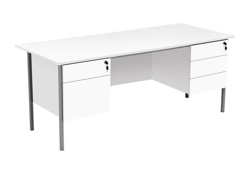 Eco 18 1800X750 4 Leg 2+3D Ped Rectangular Desk White-Black
