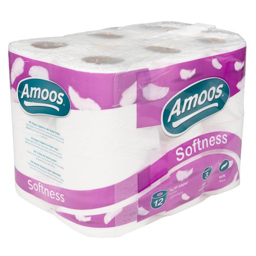 Navigator Amoos Softness Toilet Rolls 3Ply 96mm 45mm Core 150 Sheets Case 12